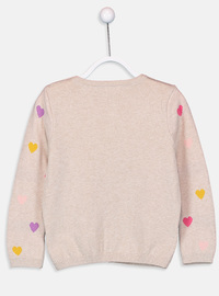 Crew neck - Printed - Beige - Girls` Pullovers