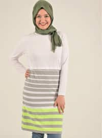 Gray - Stripe - Cotton - Tunic