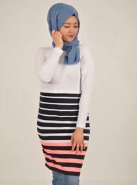 White - Navy Blue - Stripe - Cotton - Tunic