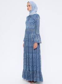 Mavi - Lacivert - İndigo - Yuvarlak yakalı - Astarlı kumaş - Elbise