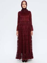Mürdüm - Yuvarlak yakalı - Astarlı kumaş - Elbise