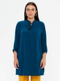 Petrol - Crew neck - Cotton - Plus Size Tunic
