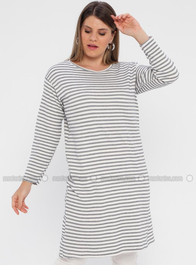 Ecru - Stripe - Crew neck - Unlined - Cotton - Plus Size Dress
