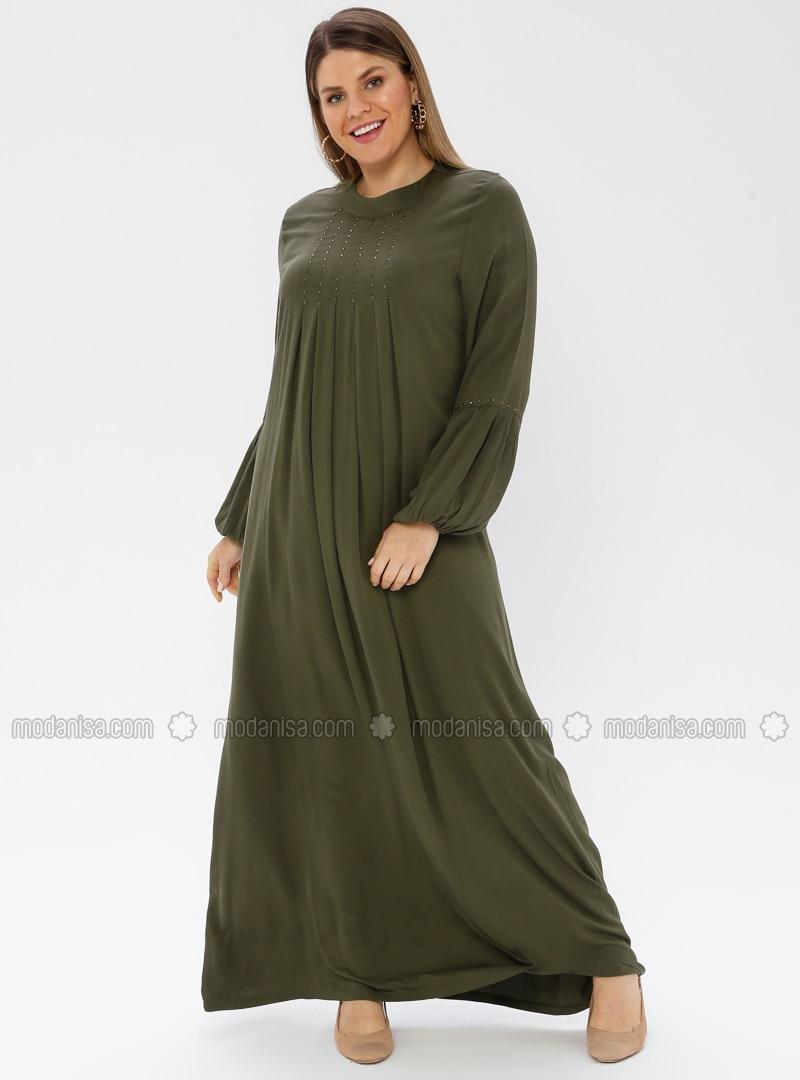 Khaki - Unlined - Crew neck - Viscose - Plus Size Dress - Ginezza