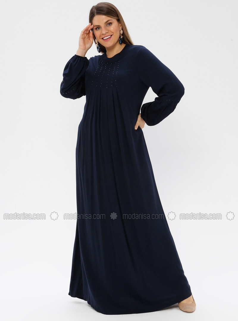 Navy Blue - Unlined - Crew neck - Viscose - Plus Size Dress - Ginezza