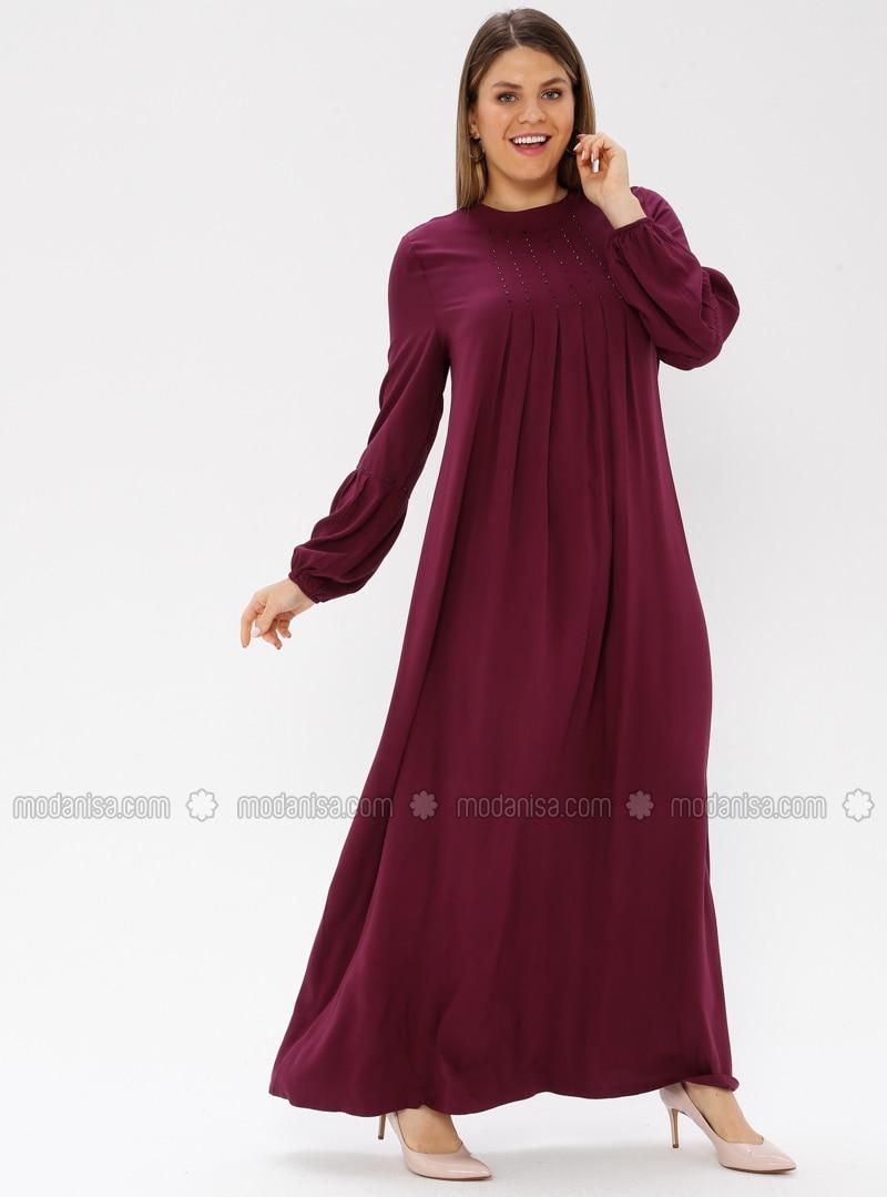 Plum - Unlined - Crew neck - Viscose - Plus Size Dress - Ginezza