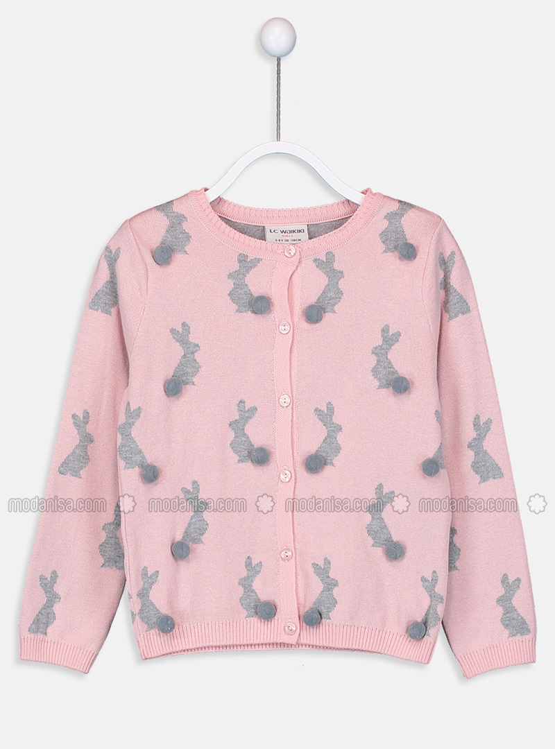 Printed - Crew neck - Pink - Girls` Cardigan