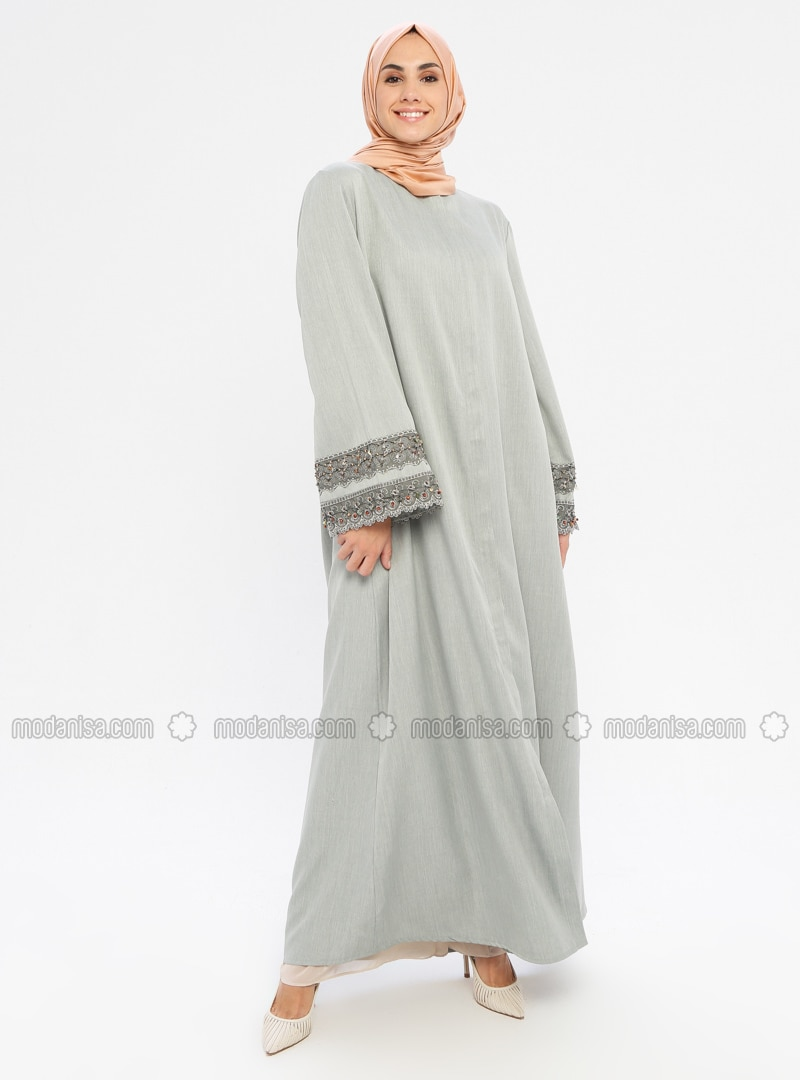 Green - Unlined - Crew neck - Abaya