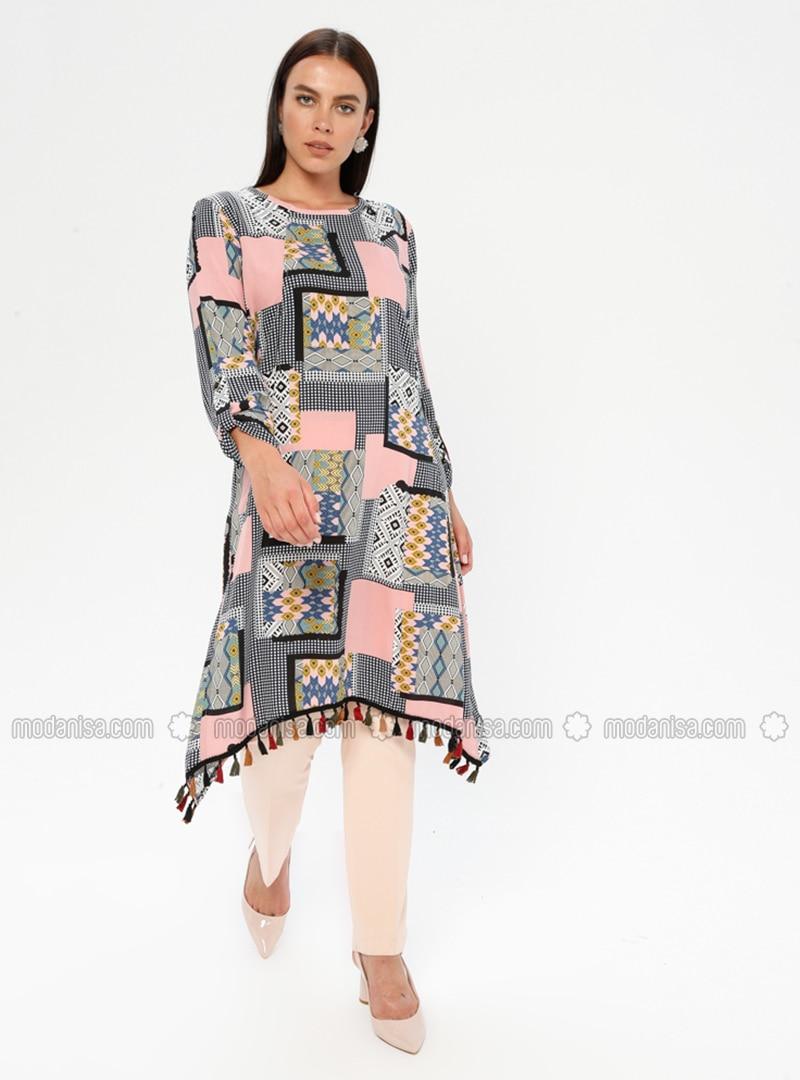 Pink - Multi - Crew neck - Cotton - Plus Size Tunic