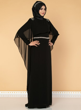 Black - Fully Lined - Crew neck - Chiffon - Dress