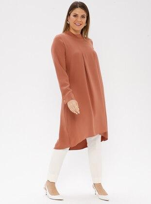 Tan - Polo neck - Plus Size Tunic