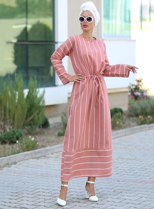 Terra Cotta - Stripe - Crew neck - Unlined - Viscose - Dress