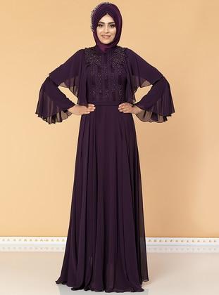 Purple - Fully Lined - Crew neck - Chiffon - Purple - Fully Lined - Crew neck - Chiffon - Dress