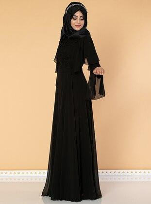 Black - Fully Lined - Crew neck - Chiffon - Dress
