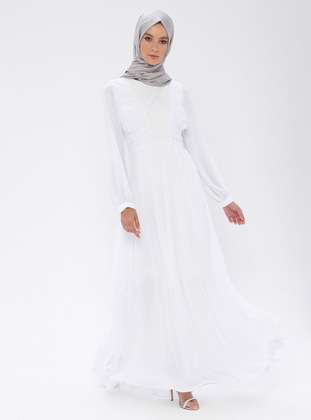 White - Ecru - Round Collar - Fully Lined - Dress