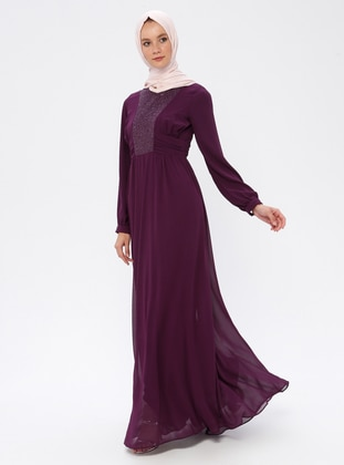 Plum - Round Collar - Fully Lined - Dress