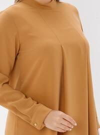 Camel - Polo neck - Plus Size Tunic