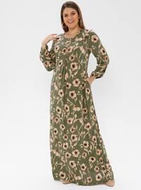 Khaki - Multi - Unlined - Crew neck - Viscose - Plus Size Dress - Ginezza
