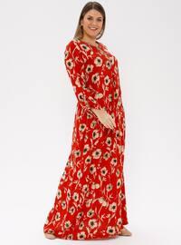 Red - Multi - Unlined - Crew neck - Viscose - Plus Size Dress - Ginezza