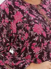 Purple - Multi - Unlined - Crew neck - Viscose - Plus Size Dress - Ginezza