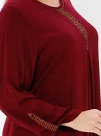 Maroon - Unlined - Crew neck - Plus Size Dress - Ginezza