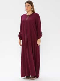 Plum - Unlined - Crew neck - Plus Size Dress - Ginezza