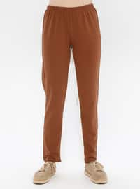 Brown - Cotton - Tracksuit Bottom