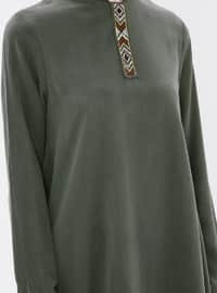 Khaki - Crew neck - Tunic