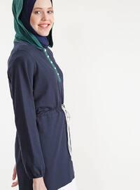 Green - White - Navy Blue - Cotton - Tunic