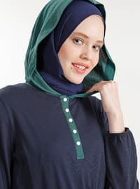 Green - White - Navy Blue - Cotton - Tunic
