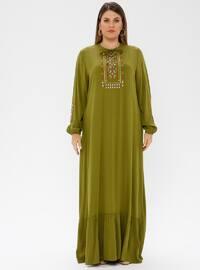 Green - Unlined - Crew neck - Plus Size Dress - Ginezza
