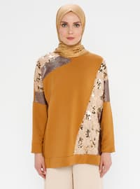 Tan - Crew neck - Tunic