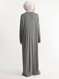 Gray - Stripe - Viscose - Dress