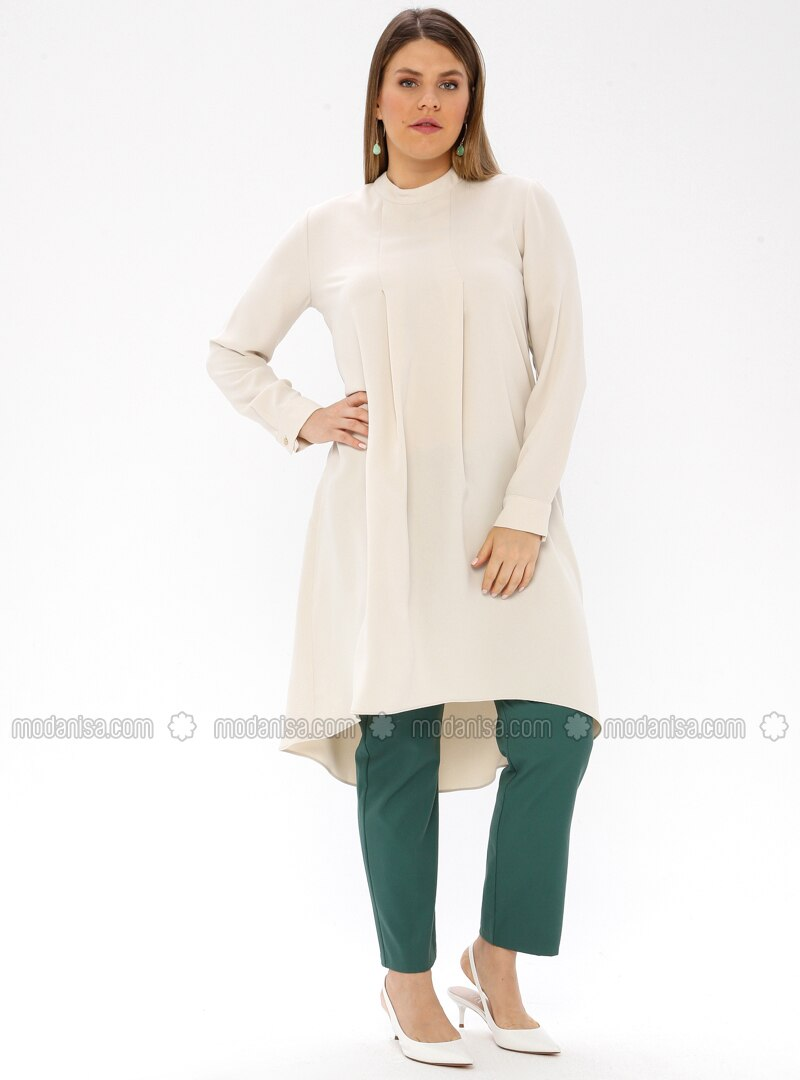 Beige - Polo neck - Plus Size Tunic