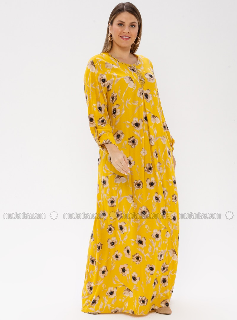 Mustard - Multi - Unlined - Crew neck - Viscose - Plus Size Dress - Ginezza