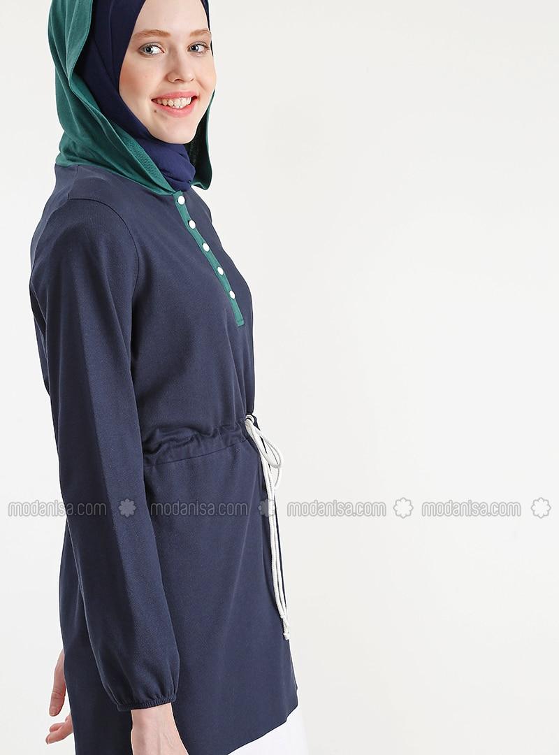 eeaedbdd9d4c29 Green - White - Navy Blue - Cotton - Tunic