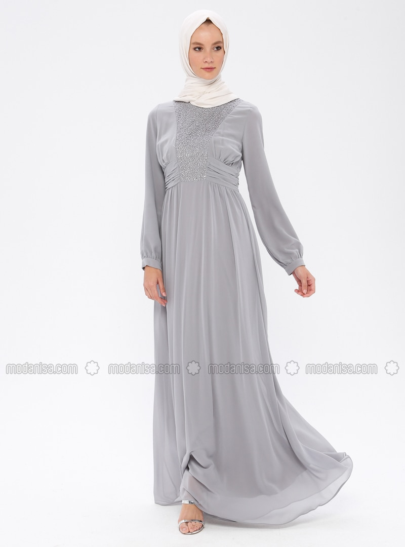 Gray - Round Collar - Fully Lined - Dress