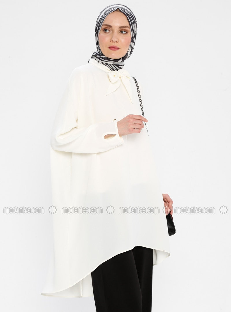 White - Ecru - Polo neck - Tunic