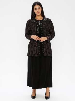 Brown - Unlined - Crew neck - Viscose - Muslim Plus Size Evening Dress