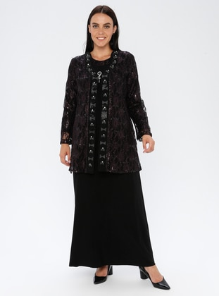 Plum - Unlined - Crew neck - Viscose - Muslim Plus Size Evening Dress