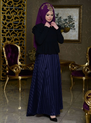 Navy Blue - Stripe - Fully Lined - Skirt