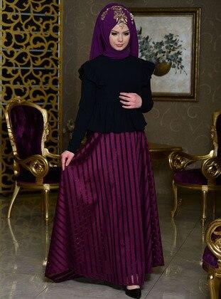 Plum - Stripe - Fully Lined - Skirt