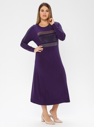 Purple - Unlined - Crew neck - Viscose - Plus Size Dress