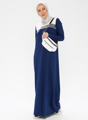Indigo - Crew neck - Unlined - Cotton - Dress
