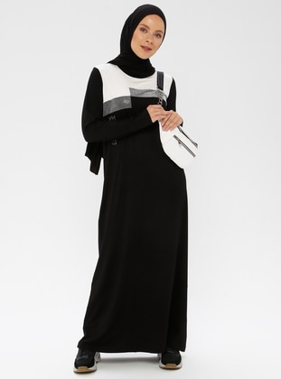 Black - White - Crew neck - Unlined - Cotton - Dress