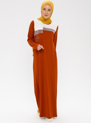 Tan - Crew neck - Unlined - Cotton - Dress