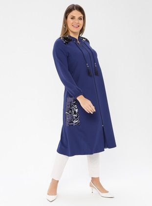 Indigo - Unlined - Crew neck - Viscose - Plus Size Coat