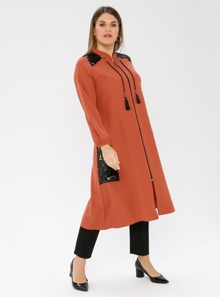 Terra Cotta - Unlined - Crew neck - Viscose - Plus Size Coat