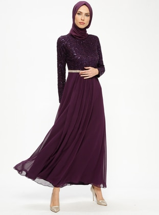Purple - Black - Purple - Purple - Fully Lined - Crew neck - Muslim Evening Dress