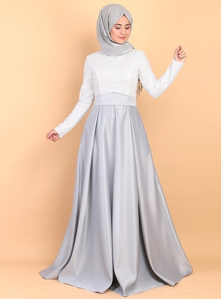 Gray - Fully Lined - Crew neck - Satin - Muslim Evening Dress